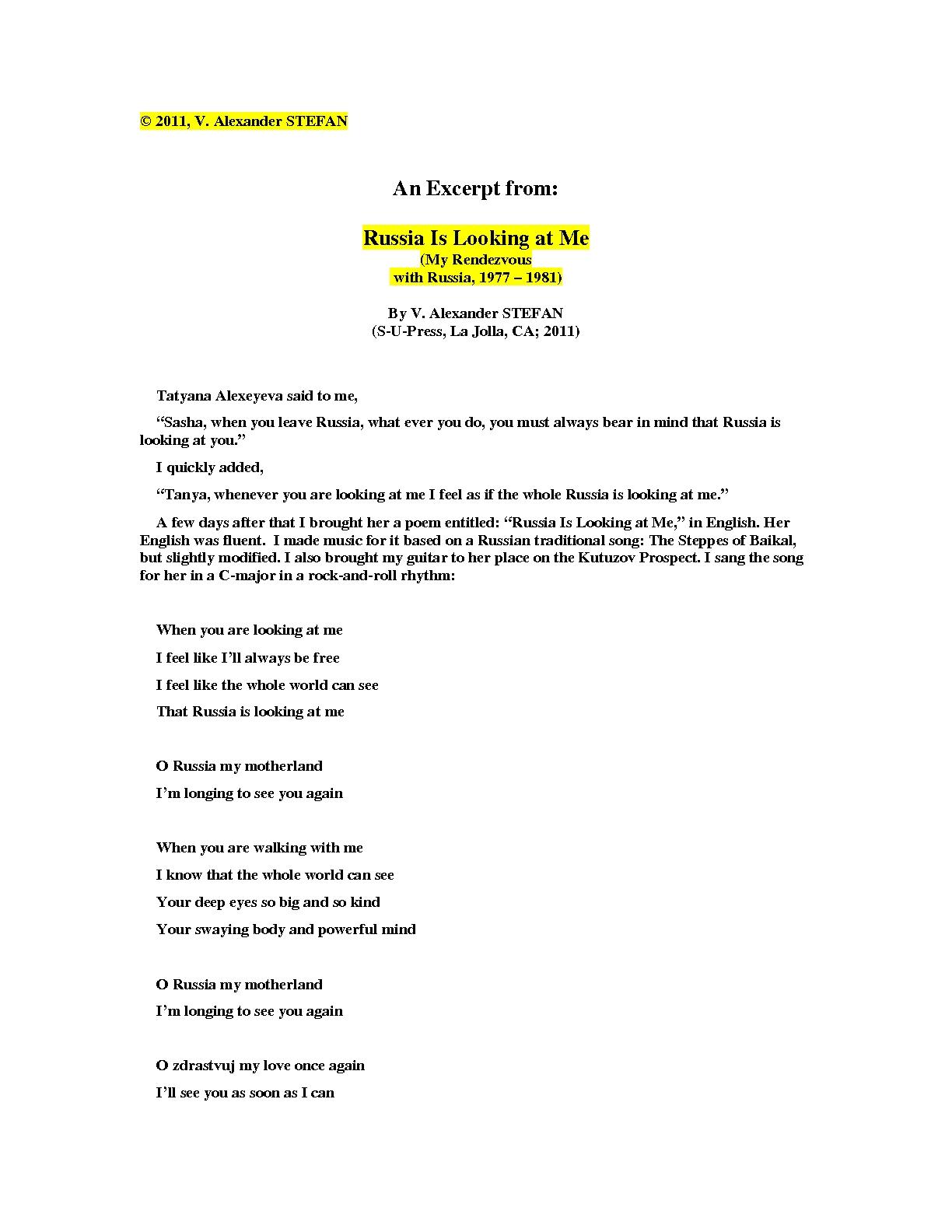 v alexander stefan works chronological order